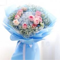 藍繡球 粉玫瑰 BH-036