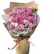 11枝紫色玫瑰滿天星花束BR11-002