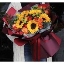 Rose Sunflower Bouquet BS05-070