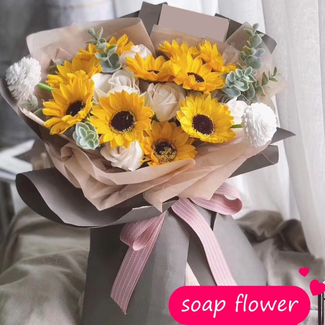 Soap flower bouquet sunflower SF111